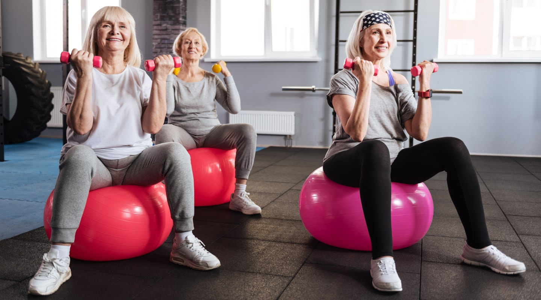 Gruppe Seniorinnen auf Gymnastikbällen mit Hanteln bei Übung Trainingsangebote Reha-Sport Ladys 1st Frauenfitness Potsdam